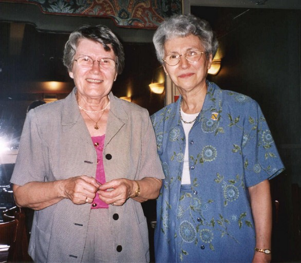 Jeannine Laporte Robert, organizer of previous Sherbrooke rally in 1997, and Gabrielle St-Georges